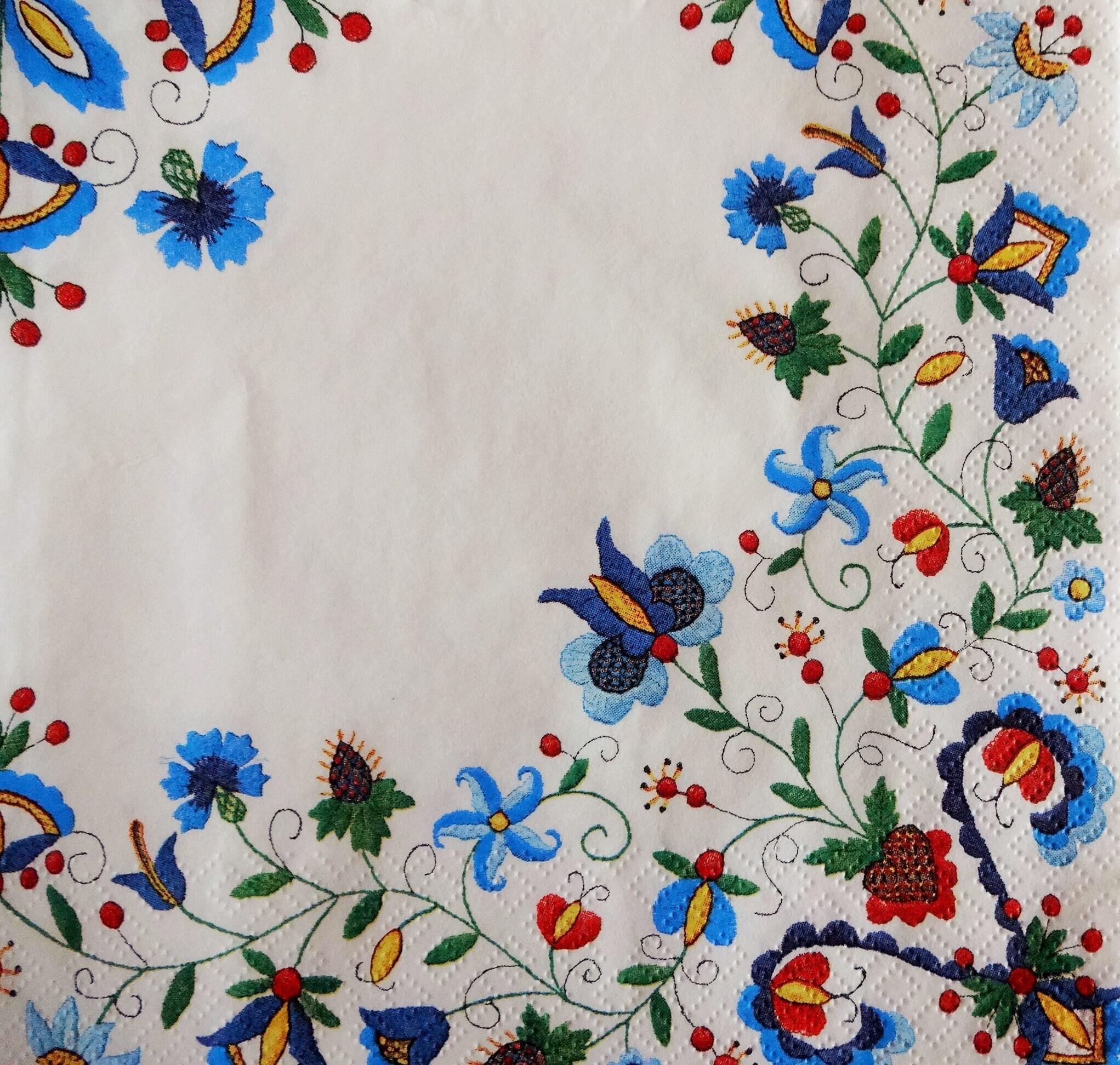 4 Floral Paper Napkin Folk Style Napkins Decoupage Napkins