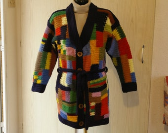 """Patchwork"" for women, hand knit coat"