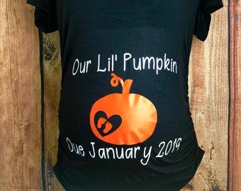 d948c79b05c Our Lil Pumpkin Maternity Shirt Due Date Shirt Pumpkin Pregnancy Shirt  Maternity Pumpkin With Footprints Shirt Halloween Shirt Pumpkin Shirt