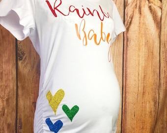 65b2f3dfb9bc0 Rainbow Baby Maternity Shirt Rainbow Maternity Shirt Rainbow Shirt Rainbow  Heart Maternity Shirt Rainbow After The Storm Maternity Shirt