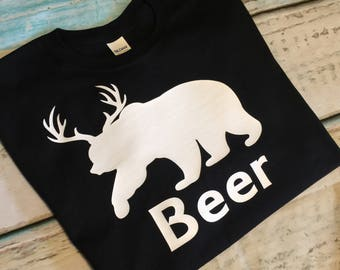 Beer Shirt Deer And Bear Shirt Bear And Deer TShirt Antler Shirt Hunting Humor Shirt Hunter TShirt Funny Shirt