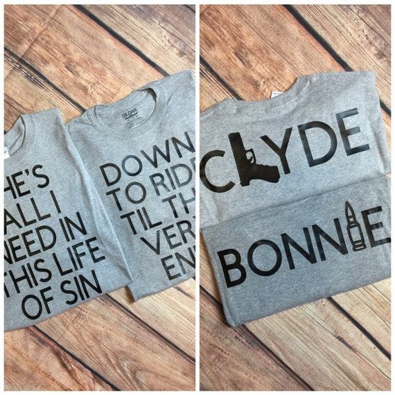 Bonnie & Clyde Couples Shirts Matching Couples Shirts Ride Or Dies Couples Shirts Ride Or Die Shirts Bonnie/Clyde Shirts Gun/Bullet Shirts e5EUyi