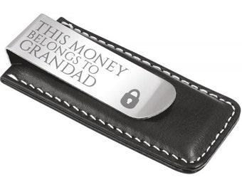 Engraved grandad grandpa MONEY CLIP personalised DELUXE gift, this money belongs to - 7045-LK2
