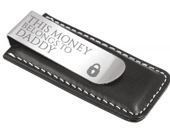 Engraved dad daddy MONEY CLIP personalised DELUXE gift, this money belongs to - 7045-LK1