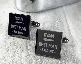 Engraved BEST MAN cufflinks wedding groomsmen gift, personalised custom polished gun metal grey cufflinks - GMS-DU7