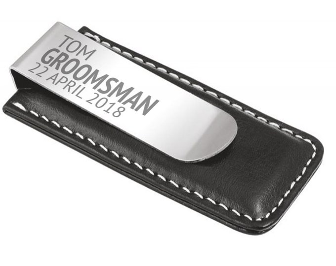 Engraved groomsman MONEY CLIP personalised DELUXE wedding thank you gift - 7045-GT6