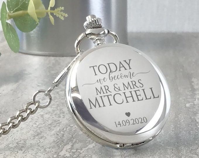 Engraved GROOM silver pocket watch wedding gift, personalised flip pocket watch gift from the bride, presentation tin gift box - PW-BEC