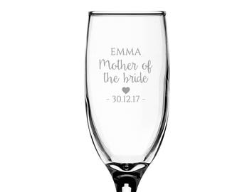 Personalised engraved MOTHER of the BRIDE glass champagne prosecco wine flute glass wedding thank you gift - EFL-WD6