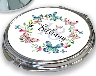 Personalised BIRTHDAY compact mirror gift, 18th 21st 30th 40th 50th 60th 70th birthday gift for her, butterflies design - RCM-BUT