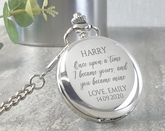 Engraved GROOM pocket watch gift, personalised watch wedding gift from the bride, presentation tin gift box - PW-ONCE