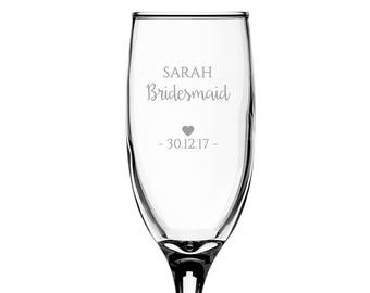 Personalised engraved BRIDESMAID glass champagne prosecco wine flute glass wedding thank you gift - EFL-WD1