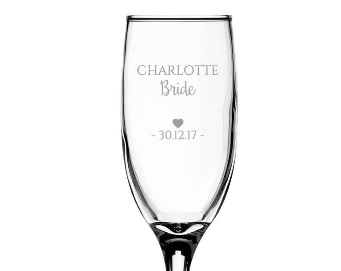 Personalised engraved BRIDE glass champagne prosecco wine flute glass wedding thank you gift - EFL-WD5