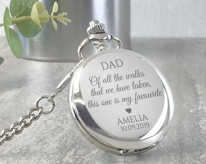 Engraved FATHER of the BRIDE pocket watch gift, personalised groomsmen wedding gift, watch chain and presentation tin gift box - PW-WK1