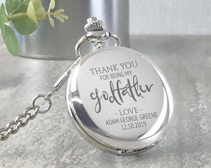 Engraved GODFATHER pocket watch christening gift, personalised watch, Thank you for being my Godfather, presentation tin gift box - PW-GODF1