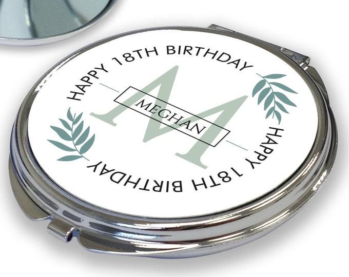 Personalised BIRTHDAY compact mirror gift, 18th 21st 30th 40th 50th 60th 70th birthday gift for her, greenery design - RCM-GBC