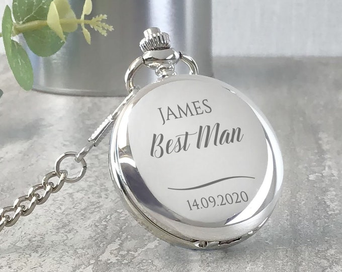 Engraved BEST MAN pocket watch gift, personalised groomsmen wedding gift, watch chain and presentation tin gift box - PW-SW4