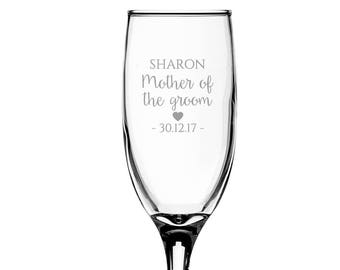 Personalised engraved MOTHER of the GROOM glass champagne prosecco wine flute glass wedding thank you gift - EFL-WD7