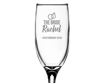 Personalised engraved BRIDE glass champagne prosecco wine flute glass wedding thank you gift, wedding rings - EFL-RG7
