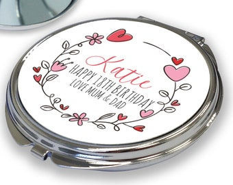 Personalised BIRTHDAY compact mirror gift, 18th 21st 30th 40th 50th 60th 70th birthday gift for her, pink floral heart design - RCM-PH