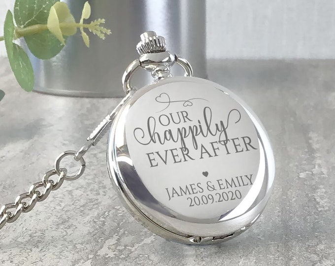 Engraved GROOM pocket watch gift, personalised watch wedding gift from the bride, presentation tin gift box, Our happily ever after - PW-HAP