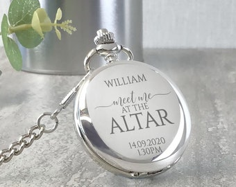 Engraved GROOM pocket watch gift, personalised watch wedding gift from the bride, presentation tin gift box, Meet me at the altar - PW-MEET