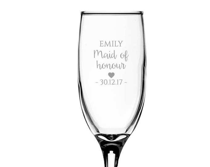 Personalised engraved MAID of HONOUR glass champagne prosecco wine flute glass wedding thank you gift - EFL-WD3