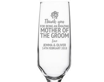 Engraved MOTHER of the GROOM champagne prosecco flute wedding glass gift, personalised wedding crystal wine flute - DHC-FL5