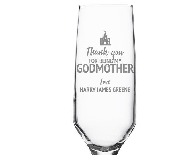 Engraved GODMOTHER christening glass gift, champagne prosecco flute baptism gift, personalised godparent present - DHC-GDM