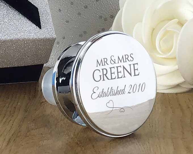 Personalised engraved engagement wedding anniversary deluxe wine bottle stopper gift idea, mirror polish established - WEDC2