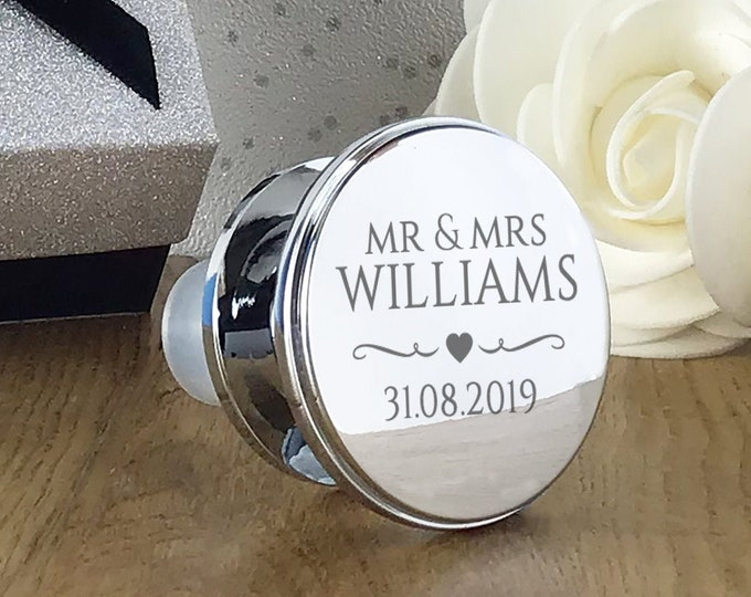 Engraved wine bottle stopper gift, personalised wedding anniversary present, silver plated - WBS-WED3