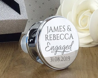 Engraved wine bottle stopper engagement gift, personalised silver plated engaged couple's wine lover present - WBS-ENG1