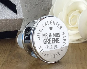 Engraved wine bottle stopper gift, personalised wedding anniversary present, happily ever after - WBS-WED2