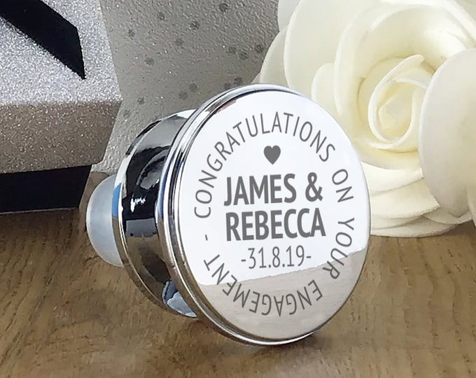 Engraved wine bottle stopper engagement gift, personalised congratulations on your engagement, wine lover present - WBS-ENG2