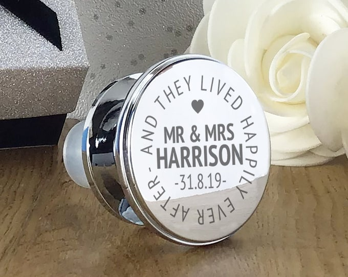 Engraved wine bottle stopper gift, personalised wedding anniversary present, silver plated - WBS-WED1