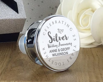 Engraved SILVER wedding anniversary gift, Silver plated Wine Bottle stopper, Celebrating 25 years together - WBS-ANN25