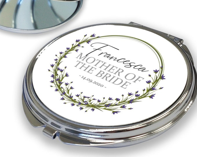 Personalised BRIDESMAID gift, compact mirror for mother of the bride and groom, maid of honour, flower girl, witness, floral design - RCM-FR