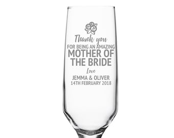 Engraved MOTHER of the BRIDE champagne prosecco flute wedding glass gift, personalised wedding crystal wine flute - DHC-FL4