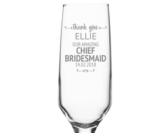 Engraved CHIEF BRIDESMAID champagne prosecco flute wedding glass gift, personalised wedding crystal wine flute - DHC-SW2
