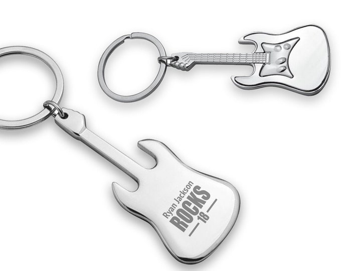 Engraved BIRTHDAY keyring gift, you rock guitar keyring, personalised metal key chain gift for him - 7782-ROK
