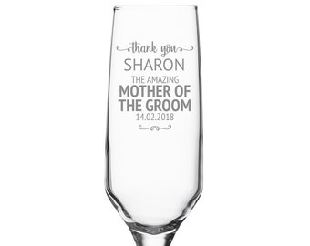 Engraved MOTHER of the GROOM champagne prosecco flute wedding glass gift, personalised wedding crystal wine flute - DHC-SW5