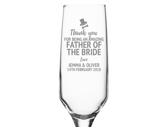 Engraved FATHER of the BRIDE champagne prosecco flute wedding glass gift, personalised wedding crystal wine flute - DHC-FL10