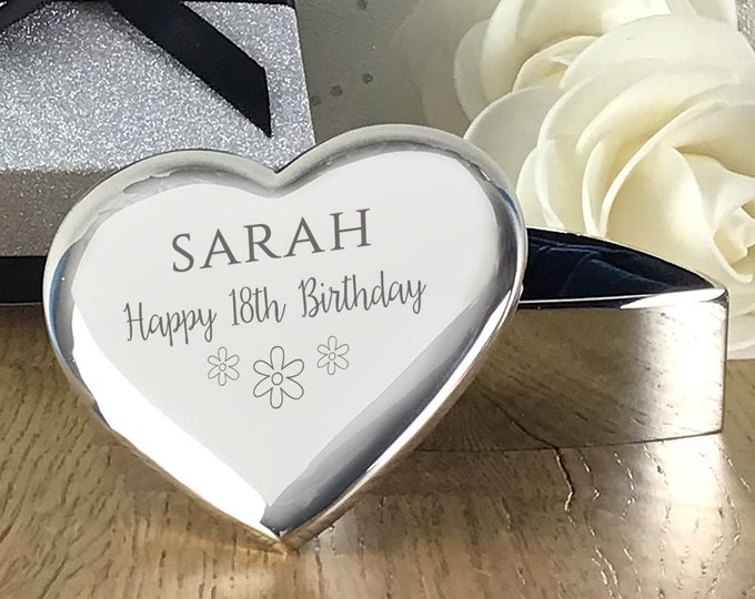 Engraved TRINKET BOX birthday gift, personalised silver plated heart jewellery box, flowers in a gift box - FL