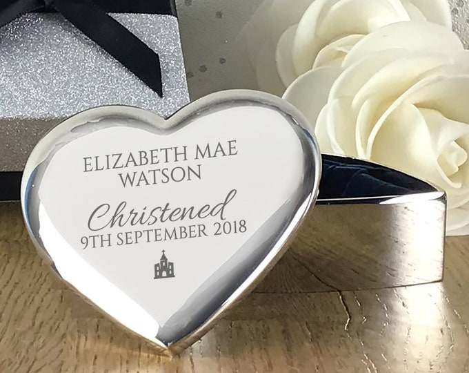 Engraved CHRISTENING trinket box gift, silver plated heart jewellery box, personalised keepsake gift - HT-CHR2