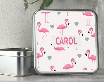 Personalised kids metal tin storage box gift idea, biscuit tin, treats tin, craft tin, flamingo design - TS17-TN15
