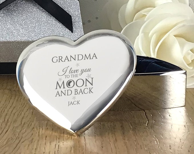 Personalised engraved GRANDMA, nanny mother's day gift, heart TRINKET BOX gift, love you to the moon and back  - LM2