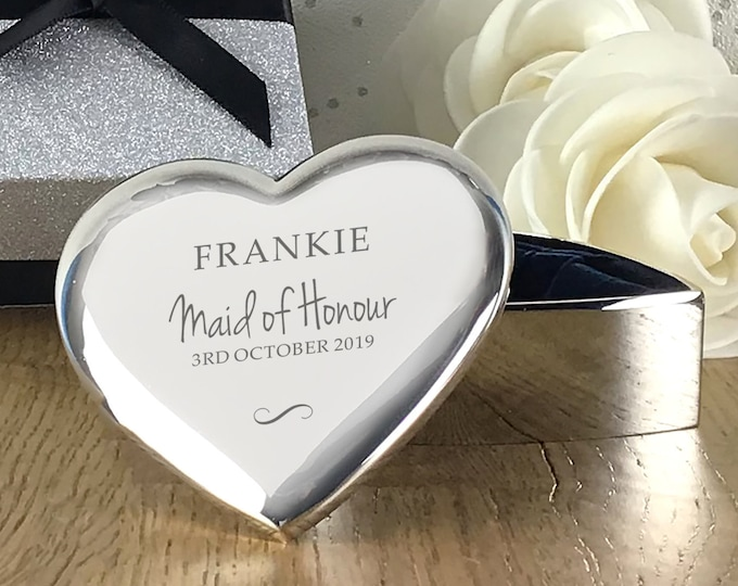 Engraved MAID OF HONOUR gift, personalised heart trinket box wedding thank you  - TRW12