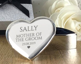 Engraved MOTHER of the GROOM gift, heart trinket box, personalised silver plated wedding thank you gift - HT-WT1