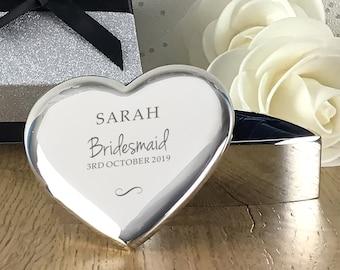 Personalised engraved BRIDESMAID heart shaped trinket box wedding thank you gift idea  - TRW14