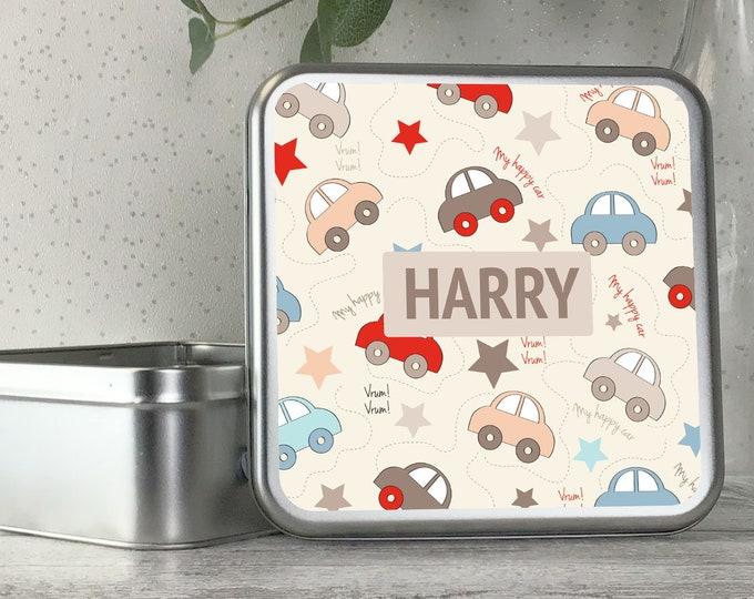 Personalised kids metal tin storage box gift idea, biscuit tin, treats tin, craft tin - TS17-TN7