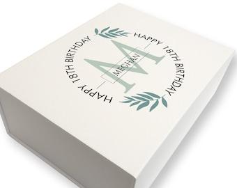 Personalised BIRTHDAY keepsake gift box for her, Greenery design, 18th 21st 30th 40th 50th 60th 70th birthday box - LB28-GBC